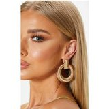 Gold Door Knocker Ribbed Hoops